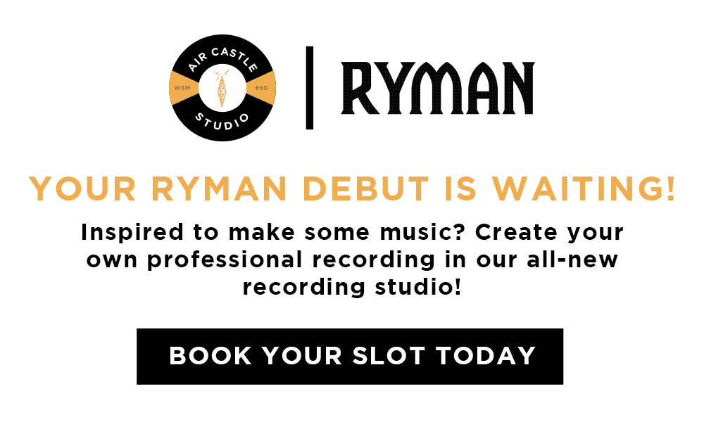 Air Castle Studio at Ryman Auditorium - Your Ryman Debut Is Waiting! Inspired to make some music? Create your own professional recording in our all-new recording studio! - Book Your Slot Today