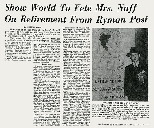 Show World to Fete Mrs. Naff
